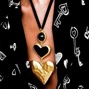 NEW Gold Rim Black Enamel Layered Hearts Necklace